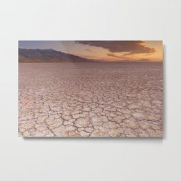 I - Cracked earth in remote Alvord Desert, Oregon, USA at sunrise Metal Print