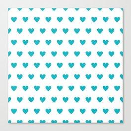 Polka dot hearts - turquoise Canvas Print