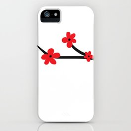 Beautiful Red and Black Japanese Cherry Blossom Flower Art iPhone Case