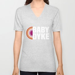 Baby Dyke Lesbian LGBTQ Gay Pride Gay Girl Unisex V-Neck