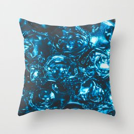 Sparkly blue water marbles Throw Pillow