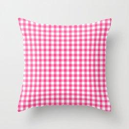 Gingham Print - Pink Throw Pillow