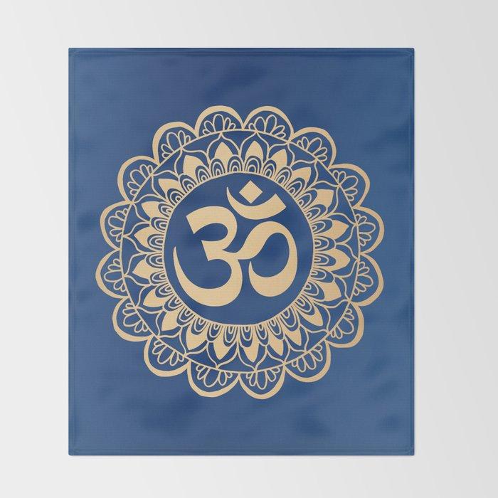 Blue and Gold Ohm Mandala Throw Blanket