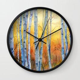 Birch Trees at Sunset Wall Clock