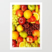 fruits Art Prints featuring FRUITS by Ylenia Pizzetti