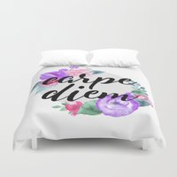 carpe diem Duvet Covers featuring Carpe Diem by Indulge My Heart