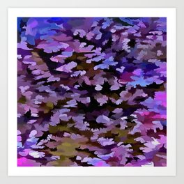 Foliage Abstract In Blue, Pink and Sienna Art Print