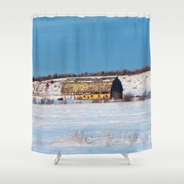 Old Barn in the snow Shower Curtain
