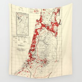 Map of Palestine Index to Villages & Settlements 1940's Wall Tapestry
