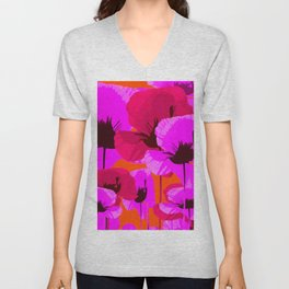 Pink And Red Poppies On A Orange Background - Summer Juicy Color Palette - Retro Mood Unisex V-Neck