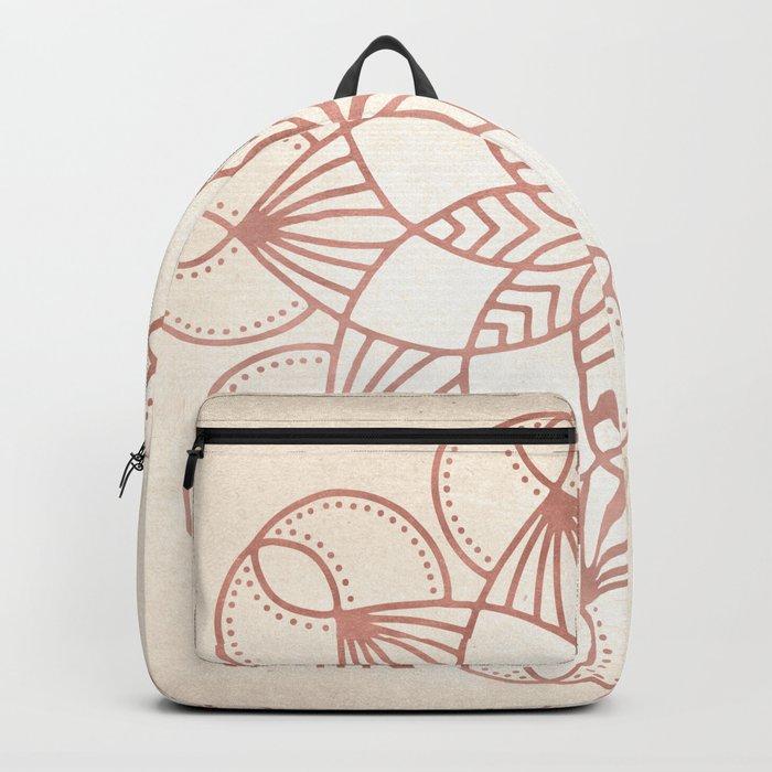 Mandala Blooming Rose Gold on Cream Backpack
