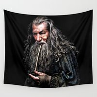 smaug Wall Tapestries featuring Gandalf  by DavinciArt