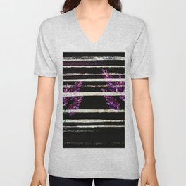 stripes and violet purple flowers Unisex V-Neck