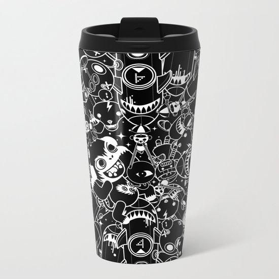 For Good For Evil - Black on White Metal Travel Mug