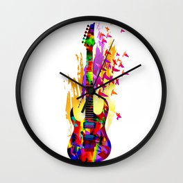 Colorful music instruments painting, abstract acoustic guitar with flying birds. Pop-art, digital. Wall Clock