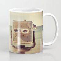 robot Mugs featuring Robot Head by Olivia Joy StClaire