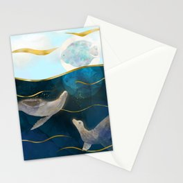 Sea Lions Playing with the Moon - Underwater Dreams Stationery Cards