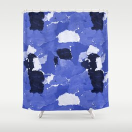 Kenni - abstract paint palette blue white navy bright modern gender neutral painting brushstrokes  Shower Curtain