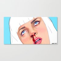 mia wallace Canvas Prints featuring Mia Wallace by Ale Caballero