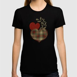 Red & Green Plaid Heart Love Letter T-shirt