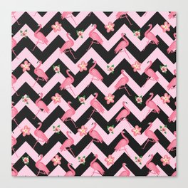 Black and pink Zig Zag With Flamingos and hawaiian flowers Pattern Canvas Print