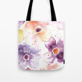 Watercolor Flowers Painting Tote Bag