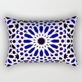 8 - Epic Original Blue Moroccan Geometric Artwork. Rectangular Pillow