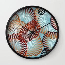 Swirling Metallic Shapes On Baby Blue Clouds Wall Clock