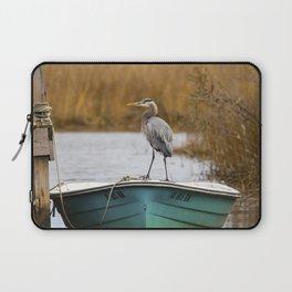 Great Blue Heron on Fishing Boat Laptop Sleeve