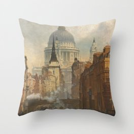 London skyline, Vintage view of St Paul's Cathedral Victorian era Throw Pillow