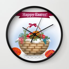 The occasion . Basket with Easter eggs . Retro . Wall Clock