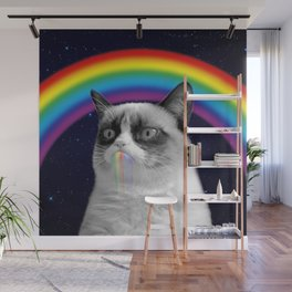 cat all over galaxy rainbow puke Space Crazy Cats Wall Mural
