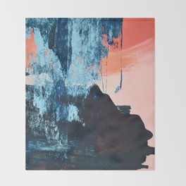 Delight: a vibrant abstract painting in blues and coral by Alyssa Hamilton Art Throw Blanket