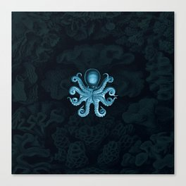 Octopus2 (Blue, Square) Canvas Print