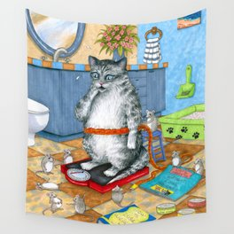 Overweight cat Wall Tapestry