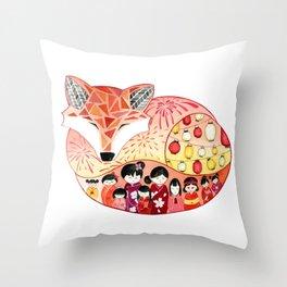Japanese Summer Fox Throw Pillow