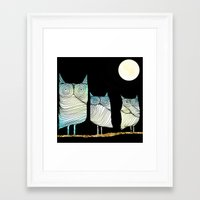 owls Framed Art Prints featuring Owls by Brontosaurus