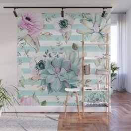 Succulents in the Garden Succulent Blue Stripes Wall Mural