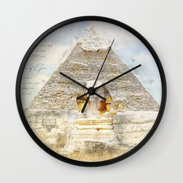 Cheops Pyramid and  Sphinx, Cairo Egypt Wall Clock