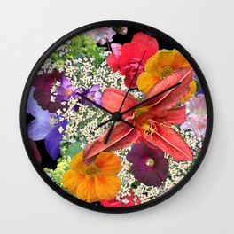 Newt in multi color floral Wall Clock