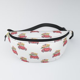 Santa Claus christmas car in winter forest I Fanny Pack