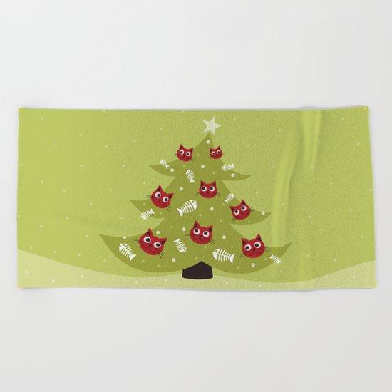 Cat Christmas Tree Beach Towel