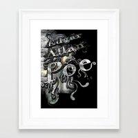 edgar allan poe Framed Art Prints featuring Edgar Allan Poe by Irmak Akcadogan
