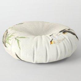 Swallows mid flight - Vintage Japanese Woodblock Print Art Floor Pillow