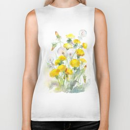 Watercolor yellow flowers dandelions Biker Tank