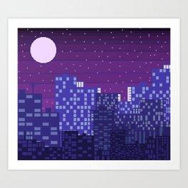 Purple Pixel City Art Print