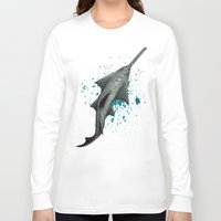 biology Long Sleeve T-shirts featuring Sawfish - Acrylic Painting by Amber Marine