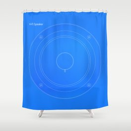 Hi Fi Speaker Cone Blueprint Shower Curtain