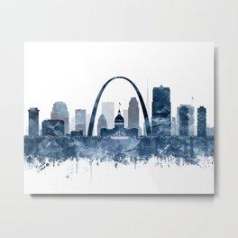 St Louis Skyline Watercolor Navy Blue by Zouzounio Art Metal Print