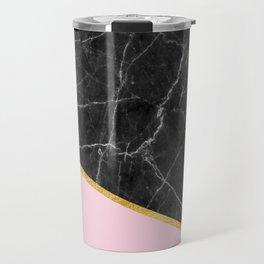 Black marble geometric gold leaf with pink Travel Mug